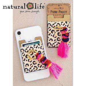 Natural Life Cheetah Tassel Phone Pocket Ring
